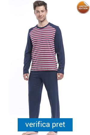 pijama de barbati bleumarin in dungi