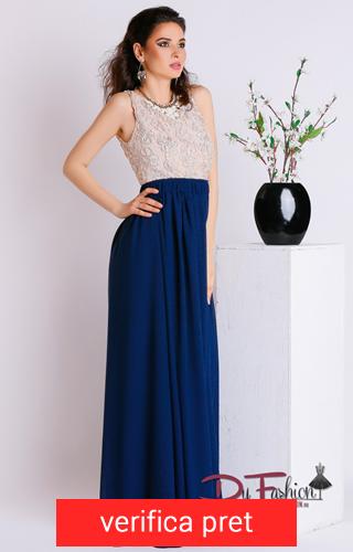 rochie lunga albastra cu alb