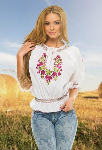 Bluza tip ie romaneasca cu flori move