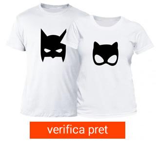 Set tricou cuplu - superhero white