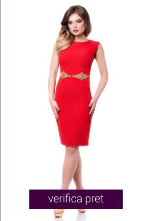 Rochie eleganta rosie cu spatele gol