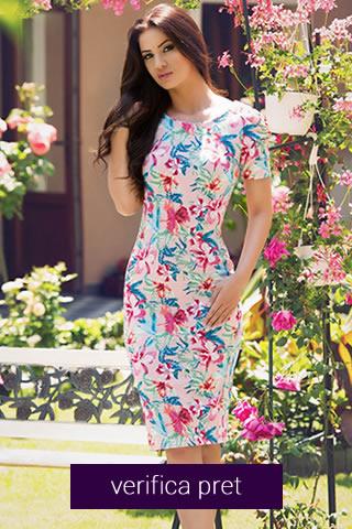 Rochie StarShinerS pana la genunchi, mulata, cu imprimeu floral