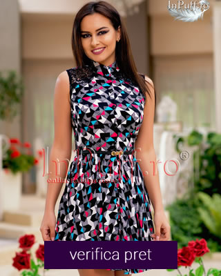 Rochie de vara cu nasturi si imprimeu colorat