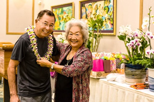 Ronald Yamauchi was the Orchidist of the Year for 2013.  President Ruth Chun presented Ron with a lei and gift certificate.