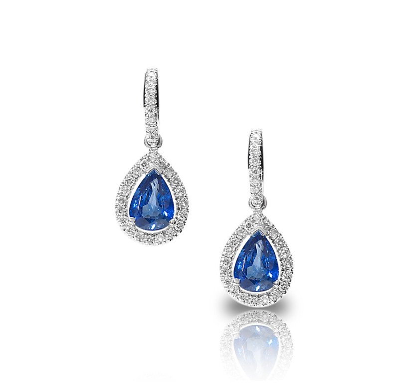 Pear Shaped Diamond and Sapphire Drop Earrings