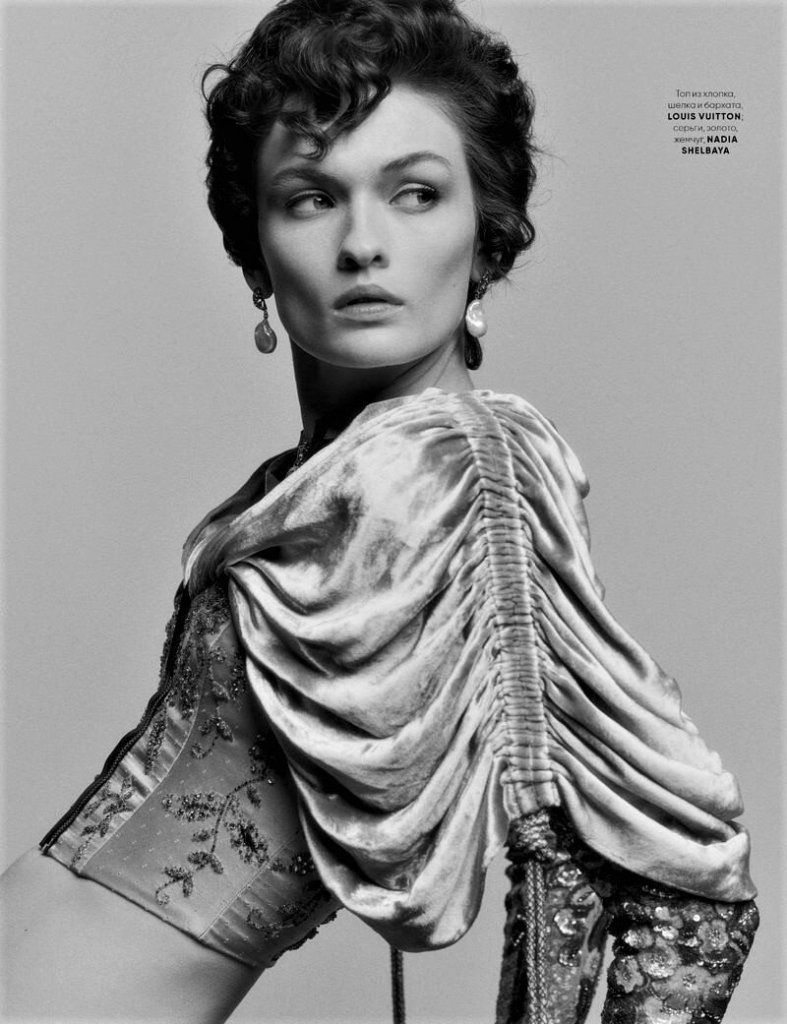 Lara Mullen in 'All That Drama' for Vogue Ukraine March 2020. Photographed by Bruno Staub.
