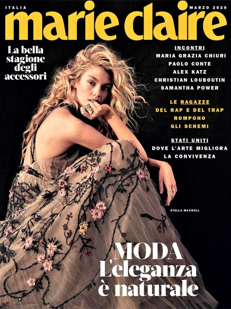 Stella Maxwell covers the March 2020 issue of Marie Claire Italy. Photographed by David Roemer.