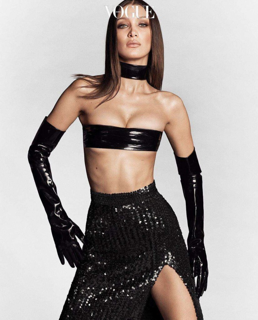 Bella Hadid covers the April 2020 issue of Vogue Korea. Photographed by Luigi & Iango.