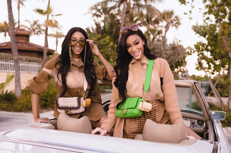 Winnie Harlow and Shannon Hamilton for Fendi's #BaguetteFriendsForever campaign. Hair by Ashley Akemi and makeup by Adam Burrell.