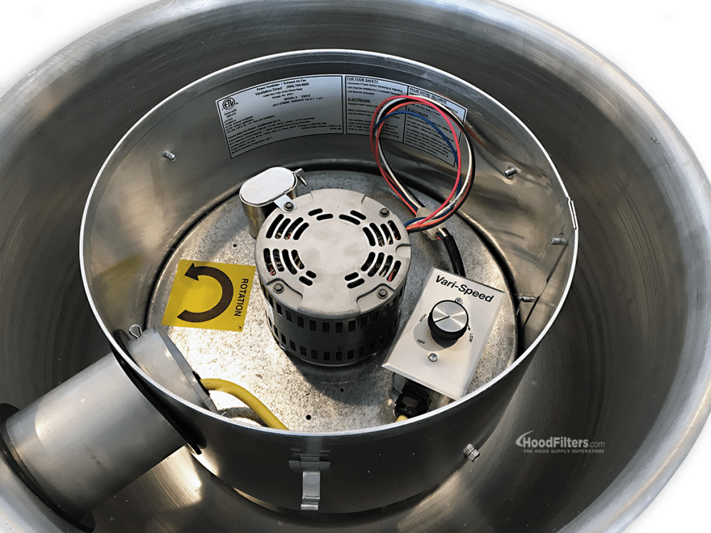 medium resolution of 900 1500 cfm direct drive upblast food truck exhaust fan with 13 75 wheel