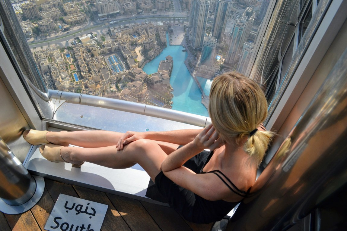 hoodiexo at the top of the Burj Khalifa in Dubai