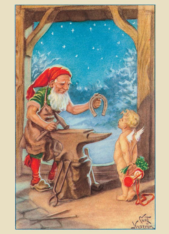 Vintage Blacksmith Wbaby New Year Card WITH Thank You For