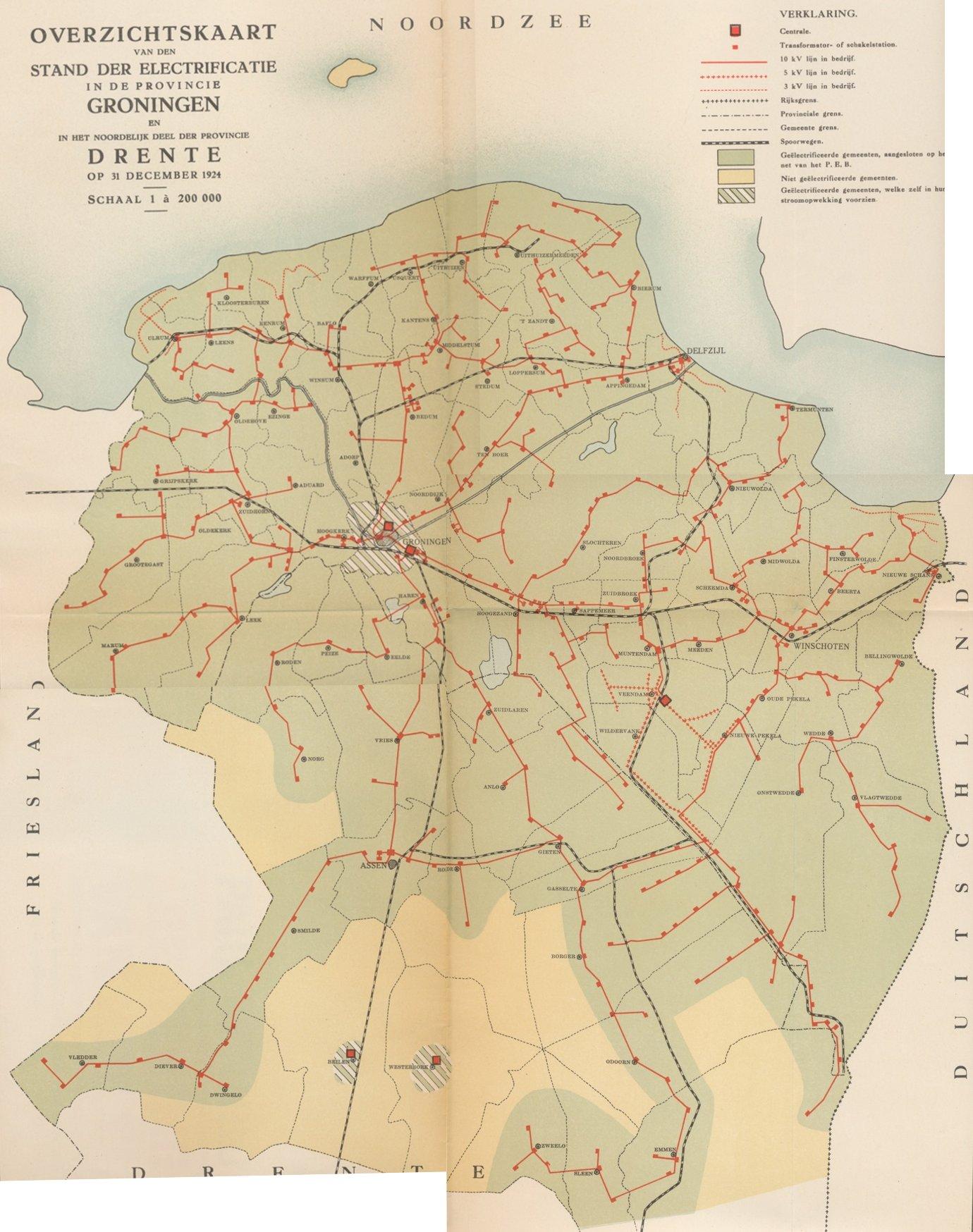 Netkaart Groningen en Drenthe 1924