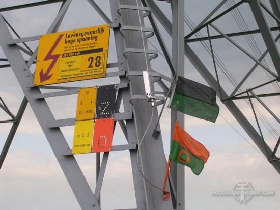 Vlaghaken met afschakelvlaggen op het broekstuk