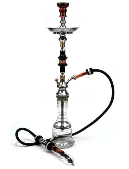 clear glass base with silver stripes at Hookah Company