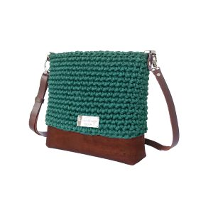teal blue green hand crocheted bag