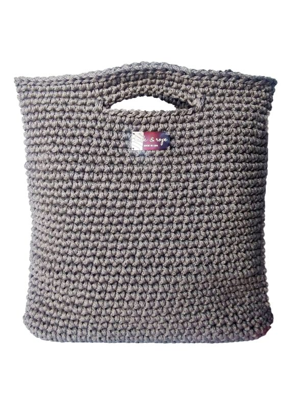 gray minimalist top handle tote style bag