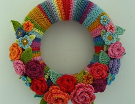 Crochet Spring Wreath-May Rose Wreath