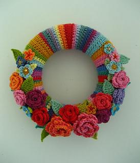 Crochet Spring Wreath-May Rose Wreath