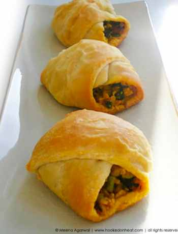 Recipe for Paneer Croissants taken from www.hookedonheat.com. Visit site for detailed recipe.