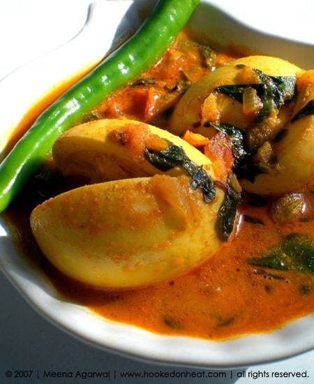 Recipe for Methi Egg Curry taken from www.hookedonheat.com. Visit site for detailed recipe.
