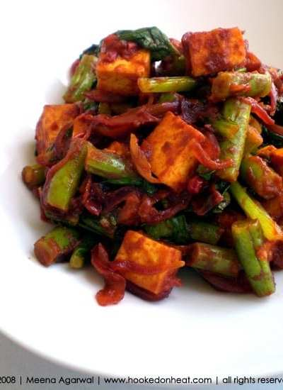 Chilli Tofu with Beans and Bok Choy