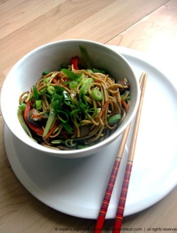 Recipe for Vegetable Hakka Chowmein taken from www.hookedonheat.com. Visit site for detailed recipe.