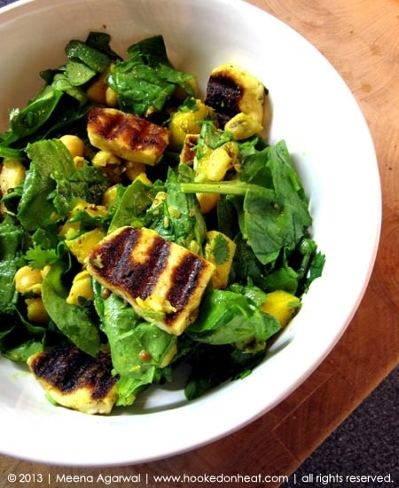 Recipe for Halloumi, Mango & Chickpea Salad taken from www.hookedonheat.com. Visit site for detailed recipe.