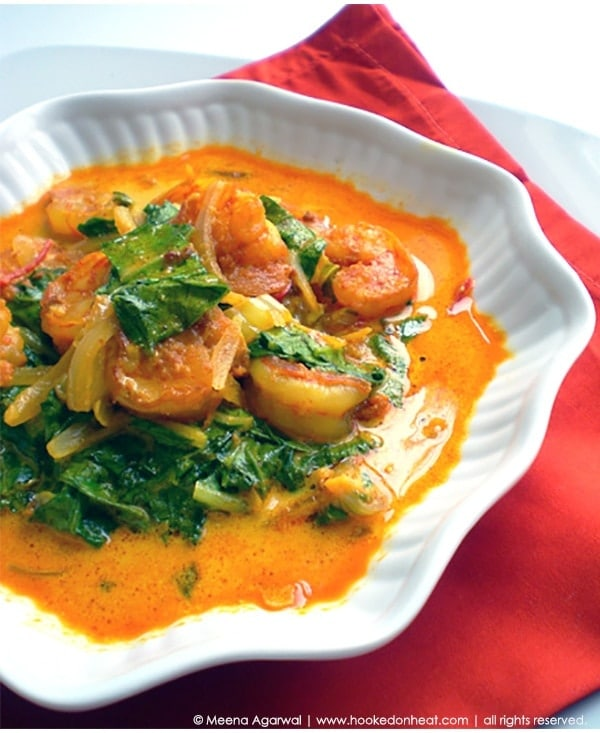 Recipe for Shrimp & Greens Curry taken from www.hookedonheat.com. Visit site for detailed recipe.