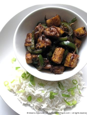 Recipe for Chilli Paneer taken from www.hookedonheat.com. Visit site for detailed recipe.