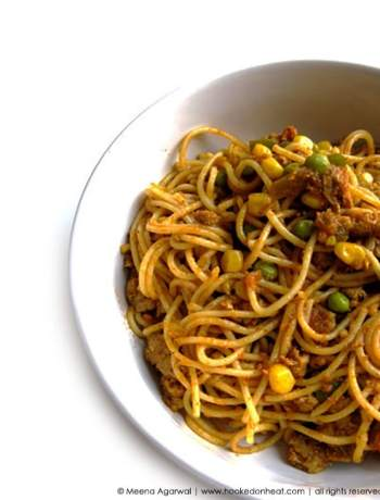 Recipe for Indian-style Keema Spaghetti taken from www.hookedonheat.com. Visit site for detailed recipe.