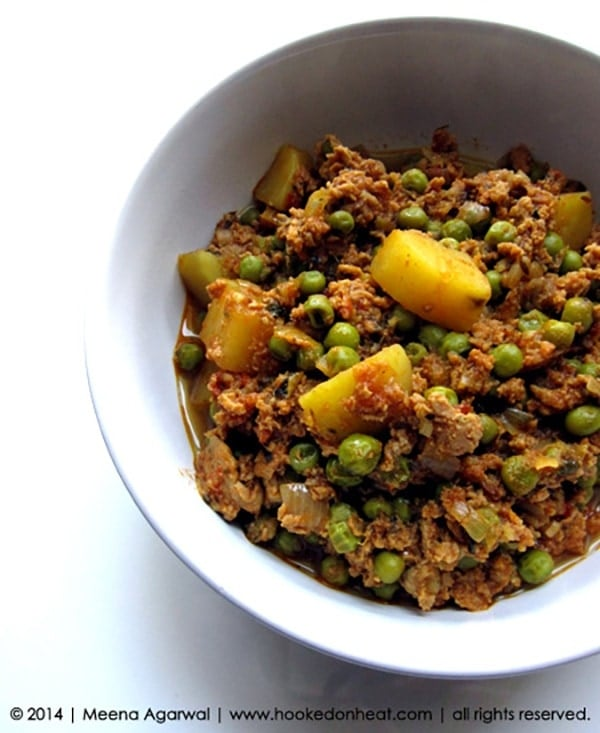 Recipe for Keema Alu Matar, taken from www.hookedonheat.com. Visit site for detailed recipe.
