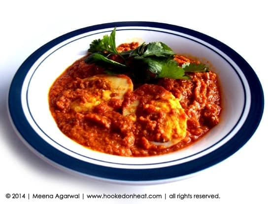 Recipe for Egg Sambal, taken from www.hookedonheat.com. Visit site for detailed recipe.