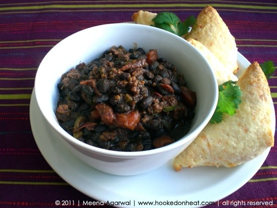 Recipe for Black Bean Chili, taken from www.hookedonheat.com. Visit site for detailed recipe.