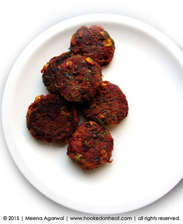 Recipe for Spinach & Beet Cutlets, taken from www.hookedonheat.com. Visit site for detailed recipe.