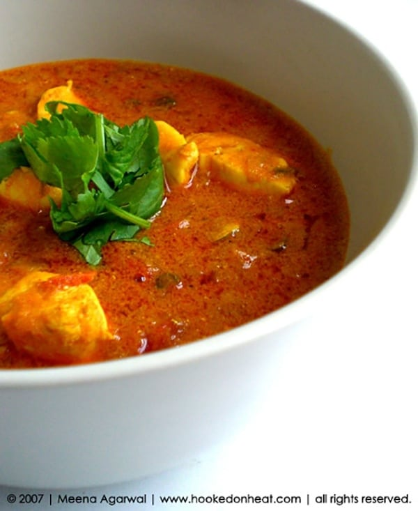 Recipe for Dahiwali Chicken Curry, taken from www.hookedonheat.com. Visit site for detailed recipe.