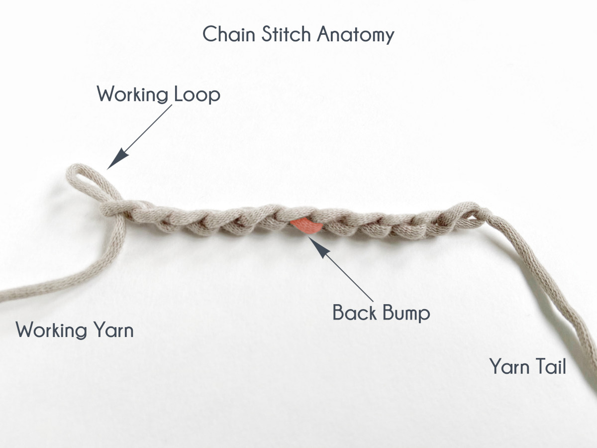 """""""Chain Stitch Anatomy"""" The row of 11 chain stitches has been turned to a side view in order to identify the """"back bump"""" of a chain stitch. Working yarn is labeled off to the left, the yarn tail is labeled off to the right, and the working loop is identified as well."""
