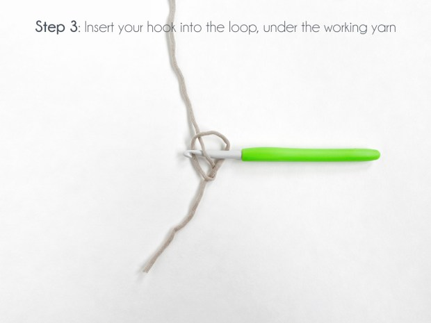 """Step 3: Insert your hook into the loop under the working yarn."""