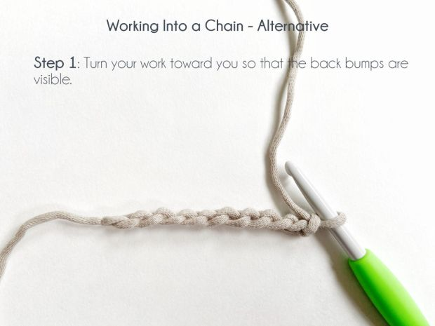 """Working Into a Chain - Alternative; Step 1: turn your work toward you so that the back bumps are visible."" A row of 11 chains lay in an upside down side view, exposing the back bumps of the stitches."