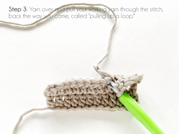 """A swatch of double crochet in taupe color shows a hook with a working loop and a yarn over having been inserted into a stitch and is now making another yarn over the hook. Text on the photo reads: """"Step 3: Yarn over and pull your working yarn through the stitch, back the way you came, called 'pulling up a loop.'"""""""
