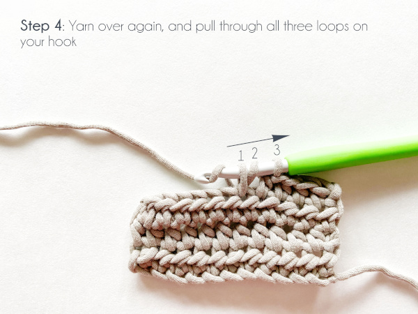 """""""Step 4: Yarn over again, and pull through all three loops on your hook."""" Photo shows the three loops indicated numbered in order from left to right on the hook: 1, 2, 3. A green-handled crochet hook has the working yarn wrapped over it and ready to pull through all three loops."""