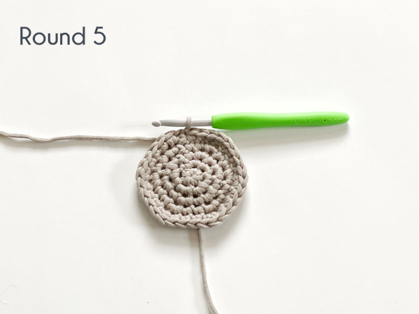 "Five rounds of single crochet have been worked in a flat circle in a taupe colored cotton yarn laying on a white background. Text on the photo reads: ""Round 5."""