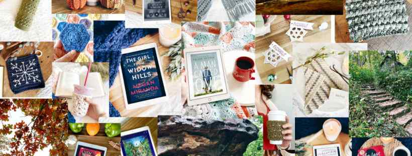 A collage of photos shows many books, crochet projects, and outdoor scenery