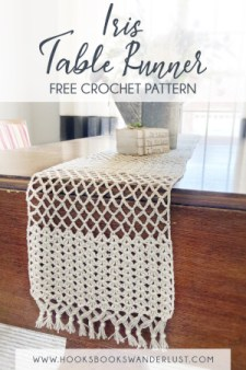 Pin Text: Iris Table Runner Free Crochet Pattern www.hooksbookswanderlust.com