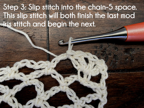 Text: Step 3: Slip stitch into the chain-5 space. This slip stitch will both finish the last modified iris stitch and begin the next.