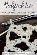 Pin Text: Modified Iris Photo and Video Crochet Tutorial www.hooksbookswanderlust.com
