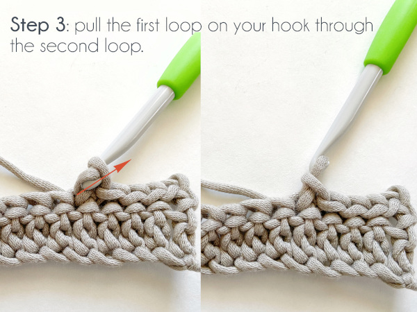 """""""Step 3: Pull the first loop on your hook through the second loop."""""""