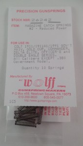 Wolff 1911 Magazine Catch Spring #2 Reduced Power - 10 Pack