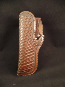 1911 Leather Holster - Left Hand Basket Weave - Mahogany