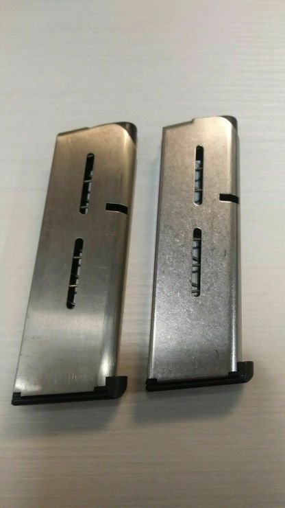 Pair of Officers Compact Wilson Combat 1911 magazines 45 acp 7rd -- mag #21.